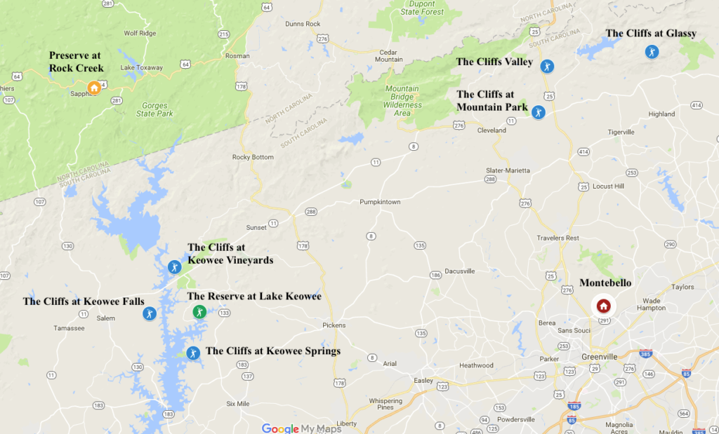 Luxury Communities of the Carolinas Map